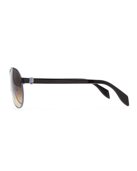 Silver Skull Aviator Sunglasses, Black