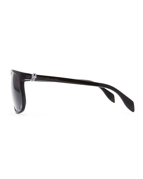 Silver Skull Square Sunglasses, Black