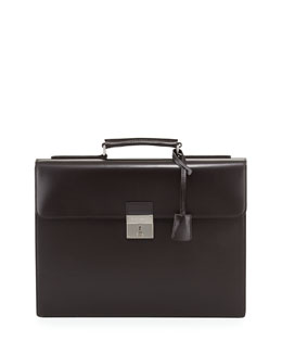 Dolce & Gabbana Single-Gusset Leather Briefcase, Brown