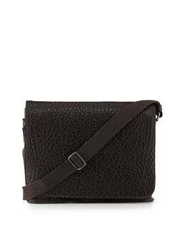 Dolce & Gabbana Pebbled Leather Messenger Bag, Brown