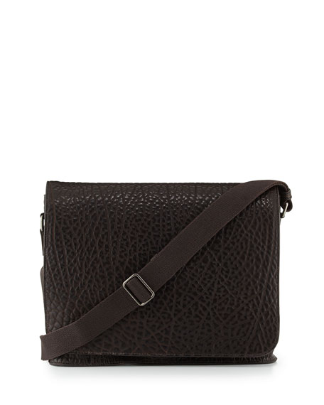 Pebbled Leather Messenger Bag, Brown