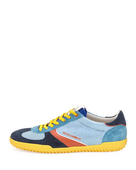 Mixed-Media Low-Top Sneaker, Blue Multi