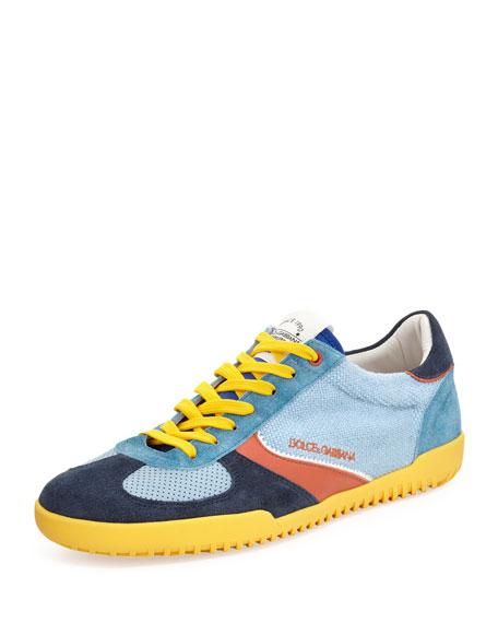 Mixed-Media Low-Top Sneaker, Blue Multi