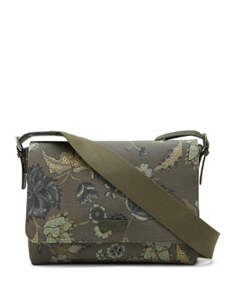 Gucci Men's Floral-Print Messenger Bag, Green Multi