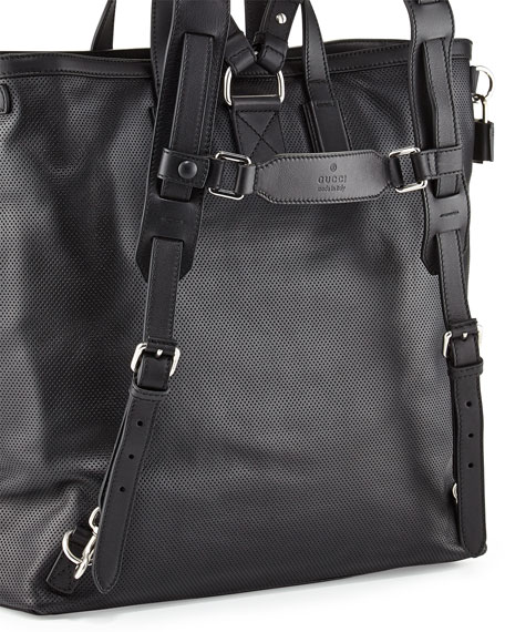 G-Active Perforated Leather Backpack, Black