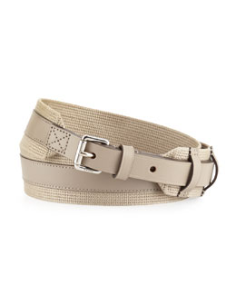 Gucci Military Web and Leather Belt, Cream