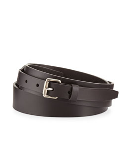 Gucci Leather Belt with Small-Square Buckle