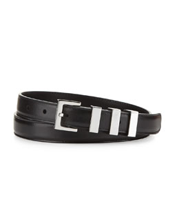 Saint Laurent Skinny Leather Belt, Black