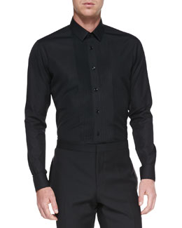 Saint Laurent Pleated-Front Tuxedo Shirt, Black