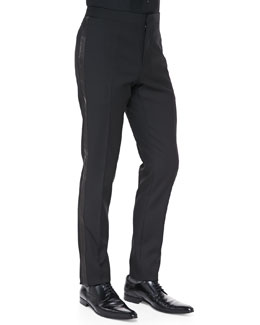 Saint Laurent 17cm Leather-Piped Tuxedo Pants, Black