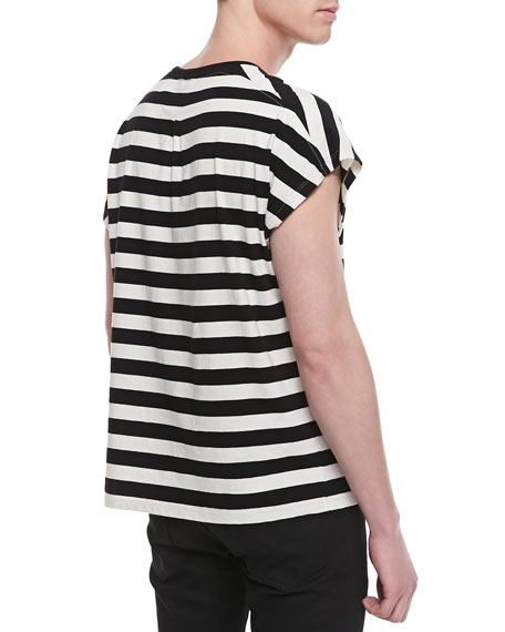 Horizontal Stripe Short Sleeve T-shirt, Black/White