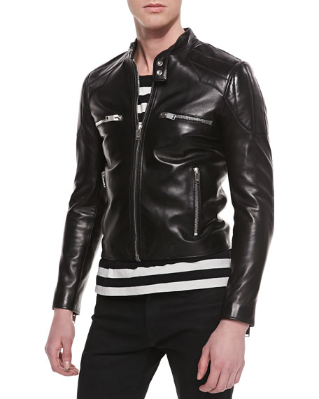 Leather Racer Jacket with Padded Shoulders, Black
