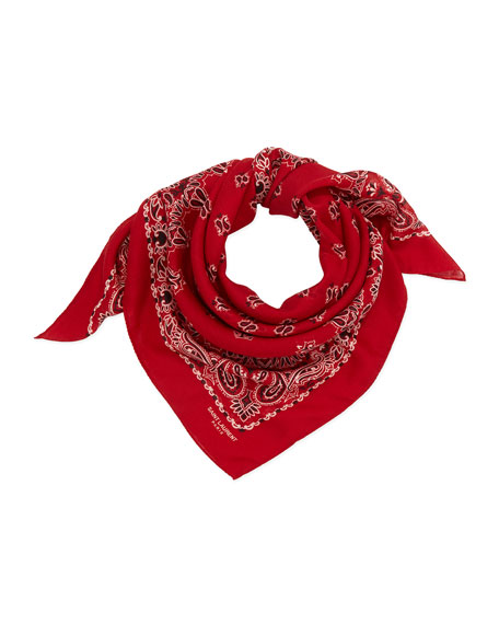 Bandana-Print Voile Square Scarf, Red