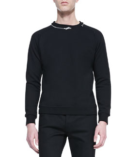 Saint Laurent Zip-Collar Sweatshirt, Black