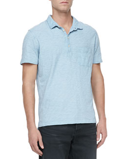 7 For All Mankind Burnout Slub Polo, Mist Blue
