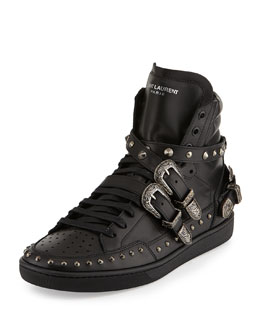 Saint Laurent Studded Buckle-Strap High-Top Sneaker, Black