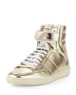 Saint Laurent Future Metallic-Leather High-Top Sneaker, Gold
