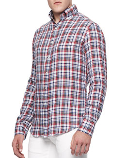 Michael Bastian Buttoned Linen Check Shirt
