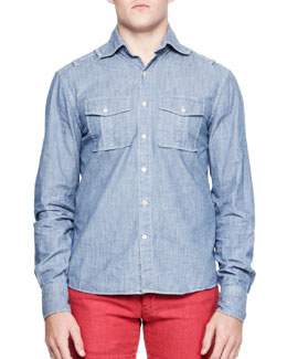 Michael Bastian Chambray Military-Pocket Shirt