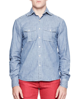 Chambray Military-Pocket Shirt