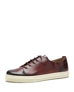 Gucci Leather Low-Top Sneaker, Oxblood