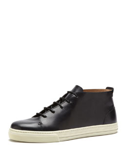 Gucci Leather High-Top Sneaker, Black