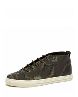 Gucci Floral-Print High-Top Sneaker, Green Multi