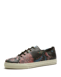 Gucci Floral-Print Leather Low-Top Sneaker