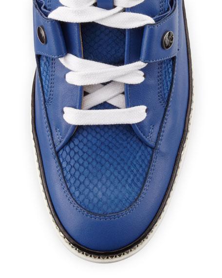 Barlowe Men's Viper-Print Leather High-Top Sneaker, Blue