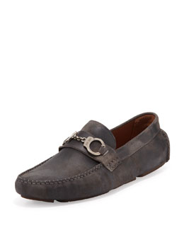 Jimmy Choo Brogan Men's Suede Handcuffs Driver, Gray