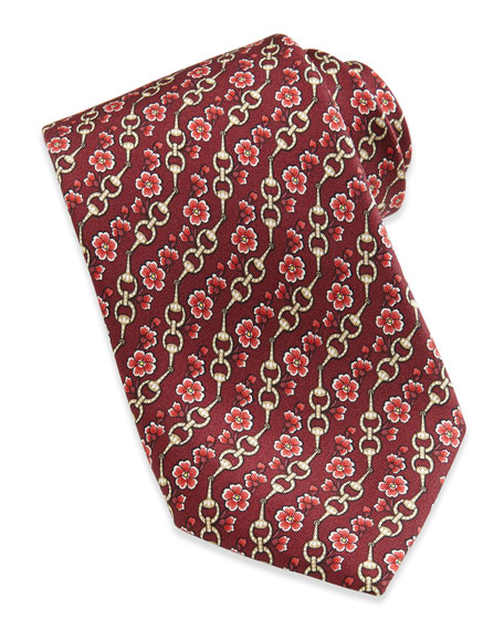 Gucci Horsebit and Floral-Print Silk Tie, Red