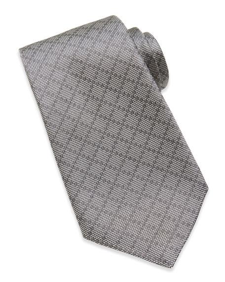 Woven Diamante Silk Tie, Light Gray