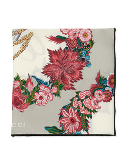 Gucci English Wreath Printed Pocket Square