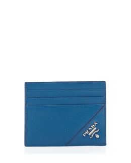 Prada Open-Side Card Case, Blue