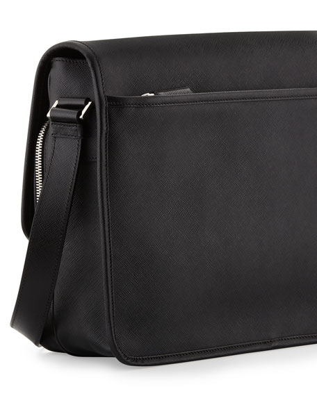 prada mens leather messenger bag