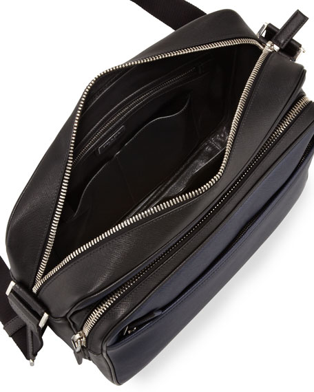 Men's Bicolor Saffiano Messenger Bag, Blue/Black