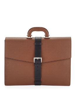 Prada Saffiano Buckle-Strap Briefcase, Tan/Black
