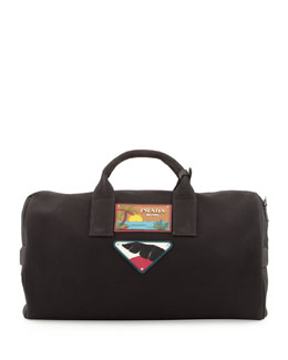 Prada Men's Beach Plaque Canvas Duffel Bag, Black