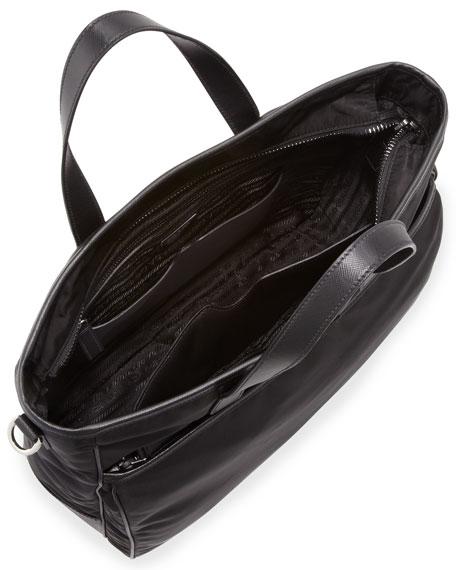 Men's Nylon Tote Bag with Strap, Black