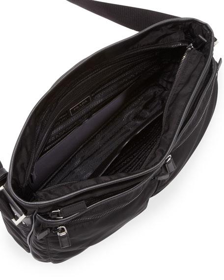 Men's Nylon Multi-Pocket Zip Messenger Bag, Black
