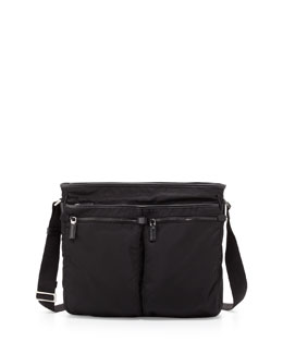 Prada Men's Nylon Multi-Pocket Zip Messenger Bag, Black