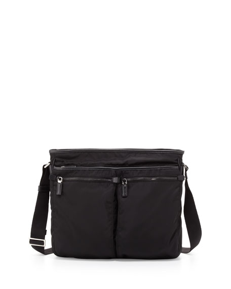Men's Nylon Multi-Pocket Zip Messenger Bag, Black