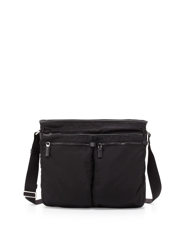Prada Men s Nylon Multi-Pocket Zip Messenger Bag 882702bd5739