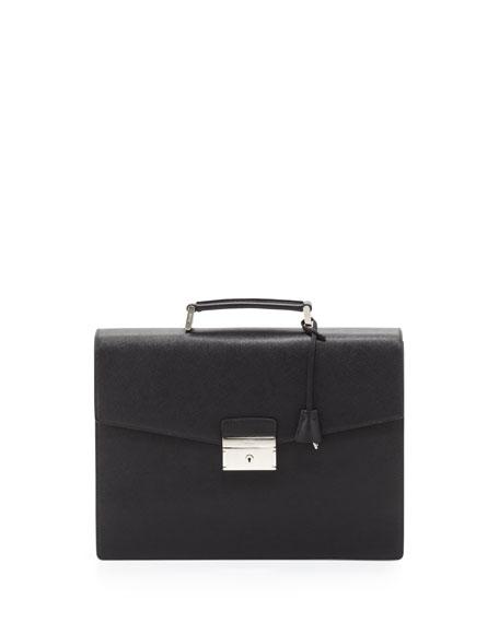 Prada Saffiano Double-Gusset Briefcase