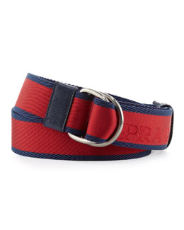 Prada Bicolor Webbed D-Ring Belt, Red/Blue
