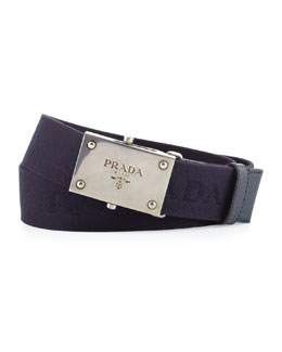 Prada Webbed Logo Plaque Belt, Blue