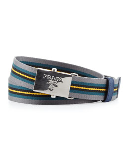 Prada Multi-Stripe Plaque Slider Belt, Multi
