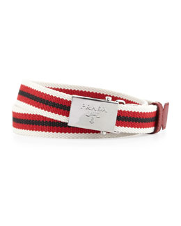 Prada Multi-Stripe Canvas Slider Belt, Red/White