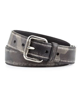 Prada Camo-Print Distressed Saffiano Belt