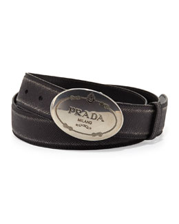 Prada Saffiano Logo Buckle Belt, Black